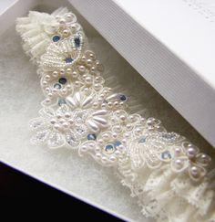 blue romance garter -wedding bridal something blue. too pretty to hide!