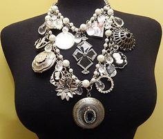 Vintage Necklace Runway Couture Necklace Lockets Cameos White Pearls Chains Crystals Black Swan  By VintElegance.com