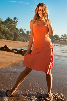 Island Importer - Cocktail Dress - Keep it simple with this strapless beach bridesmaid dress made from ultra-soft stretch-jersey.   Features an attached hip sash and side ruching for a snug, flattering fit.  Order in-stock or custom.