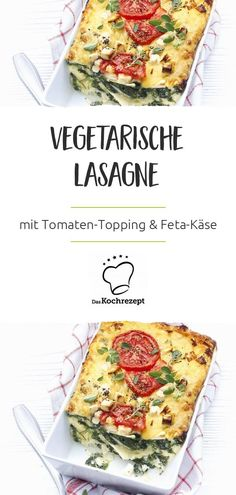 vegetarian lasagne You will love to prepare this vegetarian lasagna every week: between the pasta leaves you can enjoy a spicy sauce and a lot of delicious spinach - and. Veggie Recipes, Diet Recipes, Cooking Recipes, Healthy Recipes, Lasagna Recipe With Ricotta, Easy Lasagna Recipe, Vegetarian Lasagne, Vegetarian Lunch, Dutch Recipes