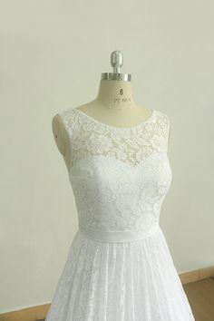 Hermosa tetera vintage blanco encaje vestido de por MermaidBridal