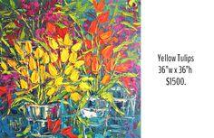 Yellow Tulips, Italy Travel, Impressionist, Original Art, Vibrant, Paris, Canvas, Floral, Nature