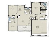 Craftsman Style House Plan - 3 Beds 2.00 Baths 1550 Sq/Ft Plan #427-5 Floor Plan - Main Floor Plan - Houseplans.com