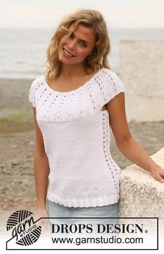 "Knitted DROPS top with pattern on round yoke in ""Muskat"". Size S-XXXL. ~ DROPS Design"