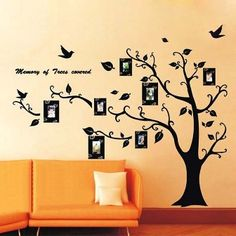 Decorar pared con arbol de la vida y fotos