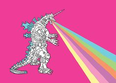 """Mechagodzilla Unicorn Breathing Rainbow"" by Linedraw"