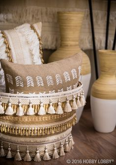 Tassels abound! Adorn a bushel basket with tassel trim to make it really speak in your space!