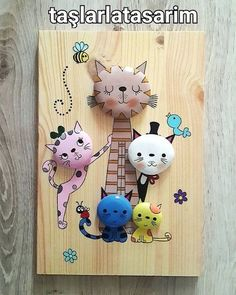 Cats - Imgram Pin to Pin Pebble Painting, Pebble Art, Stone Painting, Painting On Wood, Stone Crafts, Rock Crafts, Diy And Crafts, Crafts For Kids, Rock Painting Ideas Easy