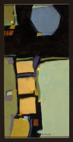 "Wayne Salge ""Yellow Squares"" 25"" x 13"" Acrylic"