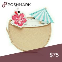 "Kate Spade Breath of Fresh Air Coconut Coin Purse Beige textured leather Kate Spade NY Breath of Fresh Air Coconut Drink Coin purse with gold tone hardware, coral flower and blue umbrella. Woven lining, zip closure at top.  Brand new from Kate Spade, sealed in packaging, comes with authenticity card.  3"" h w 3.5 Depth 1.25"" perfect for vacation! kate spade Bags Clutches & Wristlets"