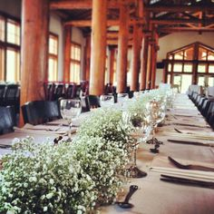 Baby's breath table runner.  Full-length at the mountain top venue, Timber Ridge.  Keystone, Colorado.
