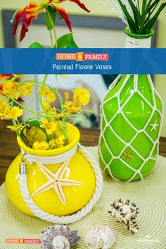 Painted Flower Vases - Turn simple glass vases into beautiful flower arrangements with nothing more than colored paint. DIY by @cristinacooks on Home and Family!