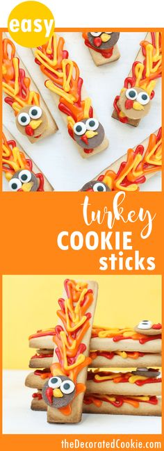 turkey cookie sticks -- easy Thanksgiving treat idea