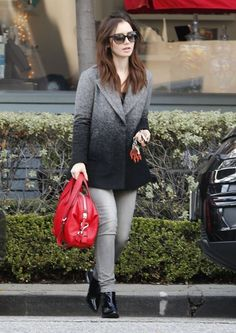 Lily Collins Wool Coat - Lily Collins stuck to a monochromatic black and gray look in her ombre wool coat while shopping in West Hollywood.