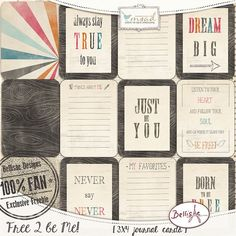 Free  3x4 Free 2 Be Me Journal Cards for Project Life from Bellisae Designs
