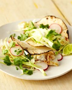 Grilled Fish Tacos, These light and refreshing tacos showcase the natural flavors and textures of herbs and vegetables, Wholeliving.com #healthylunches