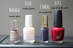 Quatre vernis pour l'automne : Mavala, Essie, l'Oréal et OPI
