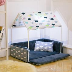 Dog House Washable Home Shape Dog Bed + Tent Dog Kennel Pet Removable Cozy House For Puppy Dogs Cat Small Animals Home Products Bed Tent, Canopy Tent, Dog Playpen, Dog Kennels, Cat Kennel, Luxury Tents, Dog Rooms, Dog Crate, Dog Houses