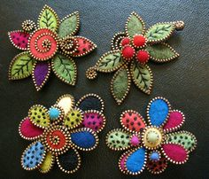 Some new multi layered leaf and tear drop brooches... | Flickr - Photo Sharing!