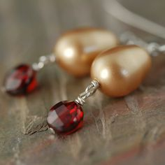 Champagne pearl earrings with fire opal red cz dangles (one of a kind) $19.95