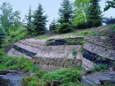 Faulted strata at Crystal Palace Park - Southeastern London, England, Suburb