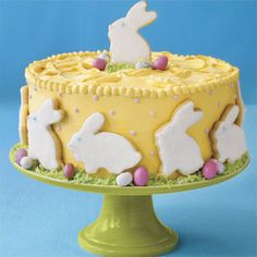 polka dot cake with sugar cookie rabbits