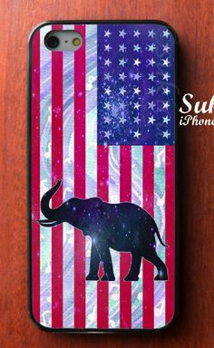 ELEPHANT On Star Galaxy Flag iPhone Case