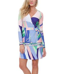 Another great find on #zulily! White Mark Purple & Pink Abstract Wrap Dress by White Mark #zulilyfinds
