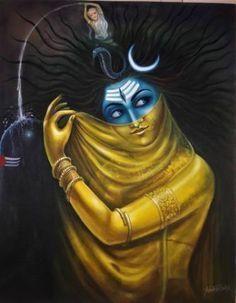 """I am Shakti, as well as Shiva.I am everything male and female, light and dark, flesh and spirit.Perfectly balanced in one single moment lasting an eternity. Rudra Shiva, Mahakal Shiva, Shiva Art, Hindu Art, Aghori Shiva, Krishna Art, Radhe Krishna, Lord Shiva Painting, Krishna Painting"