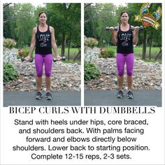 Bicep curls with dumbbells!  Give it a try! She works hard and makes her arms STRONG!  Proverbs 31:17