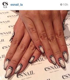 Diamond Stiletto Nails | Nailspiration | Manicure Monday #manimonday | Nail Art | Black & White Nails