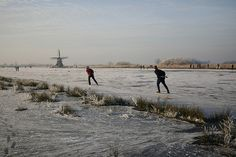 Skating in the Winter is popular in Holland.