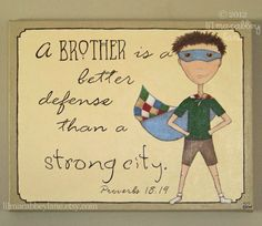 Scripture quote boy superhero canvas painting: A Brother's Defense Proverb on Etsy, $90.00