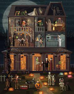 Halloween haunted house scene by Octavi Navarro   We Heart It