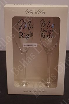 lp Mrs Right  Mrs Always Right Champagne Flutes Glasses Set Gay Lesbian Wedding Gift *** Read more reviews of the product by visiting the link on the image. Mrs Always Right, Lesbian Wedding, Champagne Glasses, Wine Glass, Wedding Gifts, Entertaining, Tableware, Link, Image