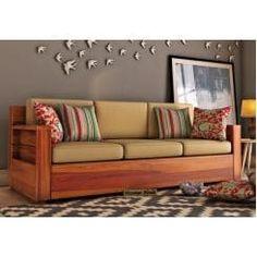 Buy Marriott 3 Seater Wooden Sofa (Honey Finish) Online in India - Wooden Street Wooden Living Room Furniture, Living Room Sofa Design, Wooden Stool Designs, Wooden Street, Wooden Sofa Set, Bed Frame With Storage, Upholstered Sofa, Best Sofa, 3 Seater Sofa