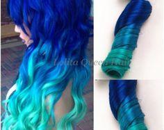 Laguna blu Ombre Clip In Hair Extensions, completo impostare le estensioni di capelli pastello, menta le radici dei capelli, tre colori Ombre