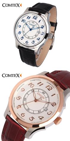 a551582d697 Comtex Watch Leather Belt rose gold Male Waterproof Watches Men Fashion  Date Analog Quartz men Watch