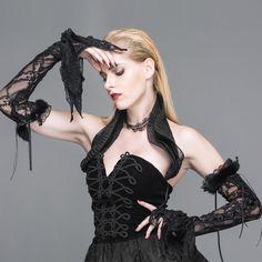 Gothic-/ Burlesque-Spitzenarmstulpen mit Schnürung