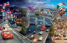 Обои картинки фото мультфильм, тачки 2, город, машины