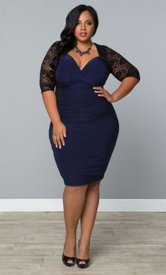Valentina Lace Illusion Cocktail Dress – Black/Navy (Womens Plus Size) From the Plus Size Fashion Community at www.VintageandCurvy.com