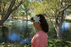 Bridal Head Piece, Wedding Head Piece, Flower Hair Ribbon, Wedding Hair Clip, Blush Head Piece, White Head Piece, Rhinestone, Floral Piece