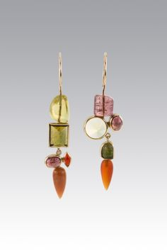 Aventurine with Mixed Stones Earrings by Janis Kerman