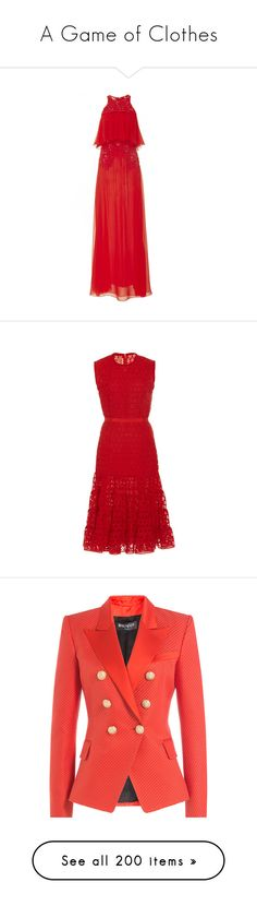 """""""A Game of Clothes"""" by ms-perry ❤ liked on Polyvore featuring dresses, giambattista valli, maxi dress, short sleeve dress, silk maxi dress, red collar dress, short-sleeve dresses, sheath dresses, 02 dresses and day dresses"""
