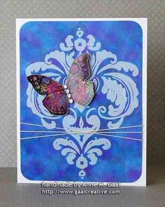Damask Butterfly Friendship Card by Anne Gaal of Gaal Creative at http://www.gaalcreative.com - Feel free to re-pin! ♥