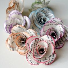 flowers made out of book pages: how do I love thee? Let me count the ways!