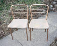 Vtg Pair Cosco USA Metal Fashion Fold Folding Chairs Mid-Century Dining Decor