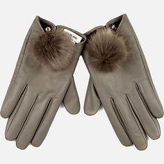 Grey leather pom pom gloves �25.00