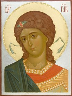 This icon of the Holy Archangel Gabriel is handpainted on a gessoed wooden board using egg tempera paints. A real masterpiece from the icon painting studio of St Elisabeth Convent! Byzantine Icons, Byzantine Art, Religious Icons, Religious Art, Saint Gabriel, Paint Icon, Russian Icons, Archangel Michael, Painting Studio