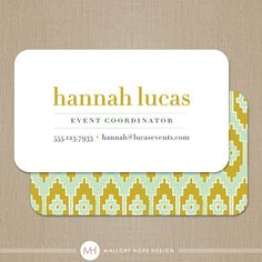 Ikat Event Planner or Interior Designer Business Card / Calling Card / Mommy Card ©MalloryHopeDesign